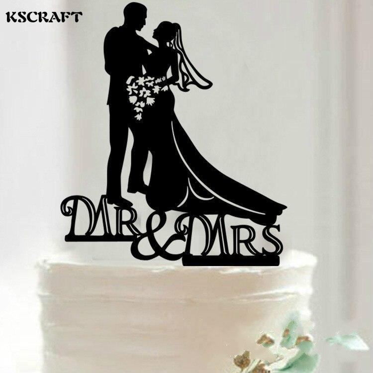 KSCRAFT Bride and Groom Cake Topper Acrylic Silhouette Wedding Cake ...