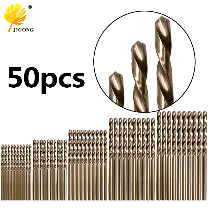 50pcsTwist Drill Bit Straight Handle High Speed Steel Cobalt M35 Grinding For Stainless Steel Metal Reamer Drill Bit