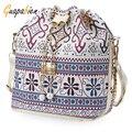 Guapabien Bohemia Bucket Bag Bolsos de Lazo de la Lona Del Hombro Mujeres Bolsas de Mensajero Bolsa Feminina Bolsos Bucket Bag