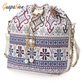 Guapabien Bohemia Bucket Bag Shoulder Handbags Canvas Drawstring Women Messenger Bags Bolsa Feminina Bolsos Bucket Bag
