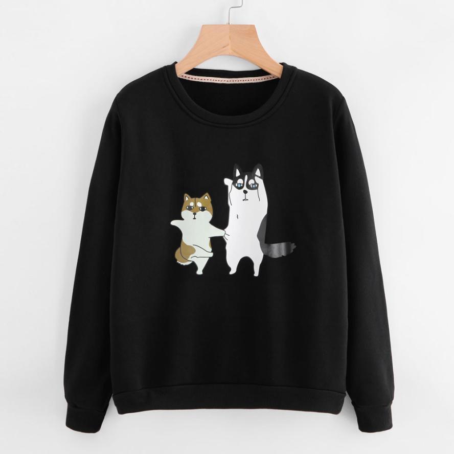 JAYCOSIN Womens Ladies Dog Printing Long Sleeve shirts Sweatshirt femme Pullover Tops Blouse 2018 J22