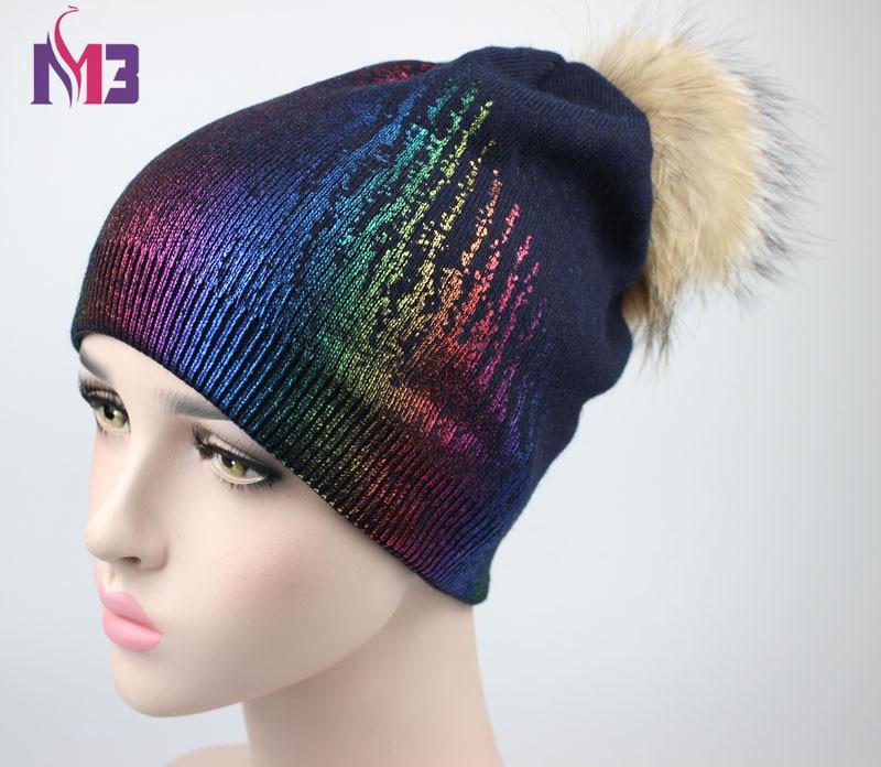 New Winter Beanies Women Knitted Cashmere Warm Hats Fashion Pom Pom Real Raccoon Fur Caps Skullies Hat For Women Print Fur Cap