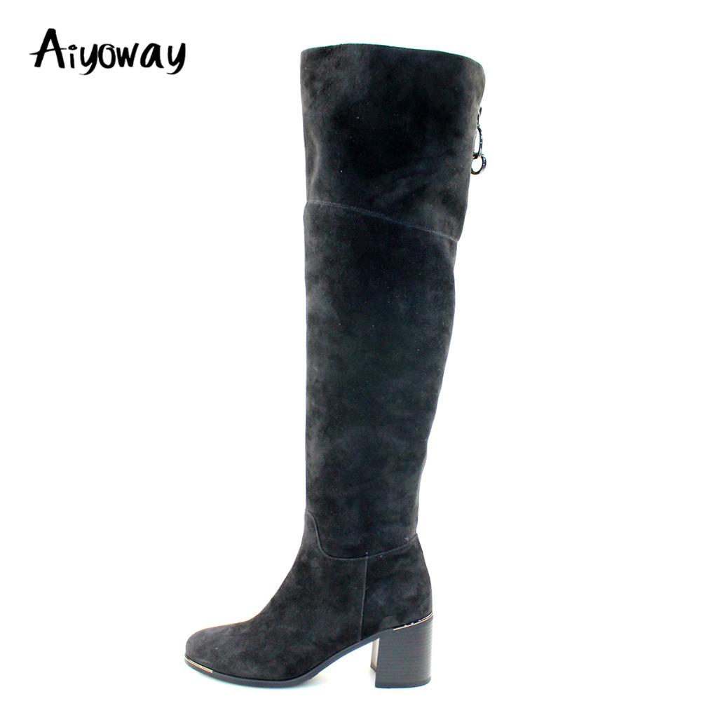 Aiyoway Fashion Women Ladies Round Toe Mid Heel Knee Boots Side Zipper Autumn Winter Dress Shoes Warm Boots Black Faux Suede crossback faux suede cami dress