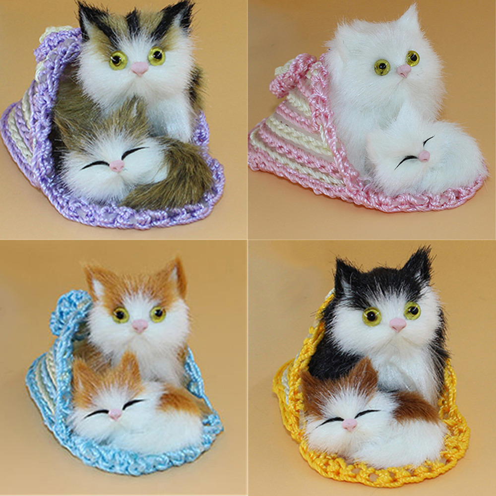 Cute Simulation Animal Mother Cat and Kitten Plush Dolls soft Cats font b Toys b font