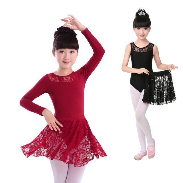 997aa3234 Sexy Black Sleeveless  Long Sleeve Lace Ballet Dance Suit Girls Kids ...