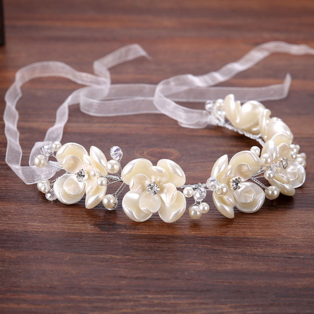 Романтические свадебные Женские аксессуары для волос для невесты Жемчужина цветочные диадемы Банданы для мужчин цветами ручной работы Для женщин волос белая лента SL