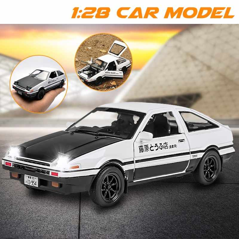 Новый INITIAL D Toyota AE86 1:28 брелок для автомобильных ключей, модель тапочки в виде персонажа аниме Форсаж (Fast Furious с отступить Звук Свет литья под давлением модели автомобилей, Детские кубики, игрушки для мальчиков