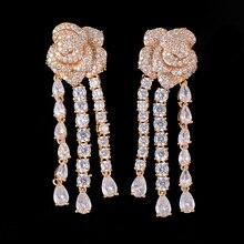 SisCathy New Luxury Noble Brand Blooming Flower Waterdrops Crystal Drop Earrings for Women Bridal Wedding Engagement Jewelry
