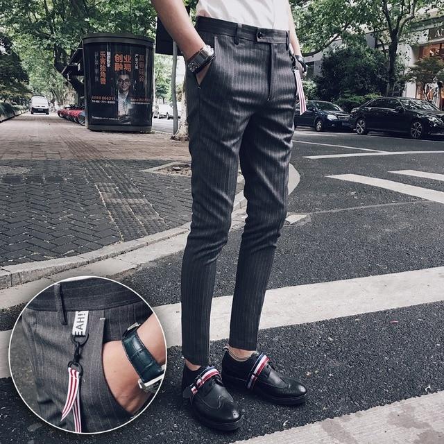 Autumn and winter Korean casual pants men Slim trend feet pants striped trousers social guy pants men's trousers