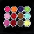 NUEVO 12 Color de Terciopelo Flocado Polvo para Velvet Uñas de Manicura Consejos Polish Art Nagel Glitzer prego glitter Glitter 20 Dropship