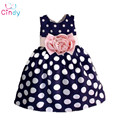 Retail new 2017 new Polka Dot Girls summer Dress childrens clothes Party dresses Bowknot Sleeveless Princess Kids baby Clothing