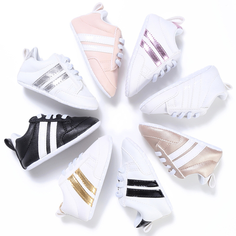 Pu Leather Sports Sneakers Newborn Baby Boys Girls Stripe