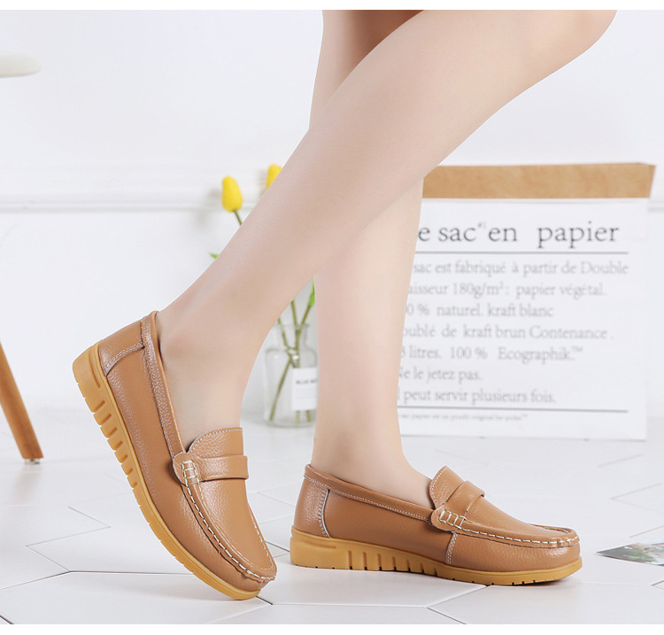 AH 2020-2019 Spring Autumn Women Loafers Genuine Leather Woman's Flats-16