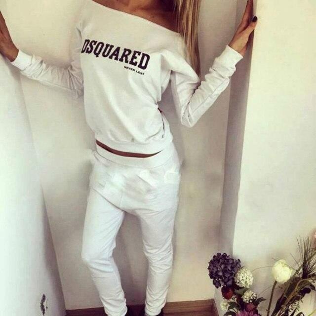 2017 Yeni Rahat Sonbahar Setleri Slash Boyun Eşofman Uzun Kollu Üst Ince Uzun Pantolon kadın Casual Suit 2 Parça