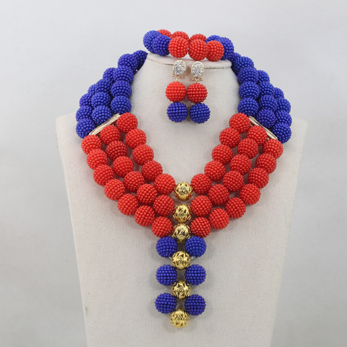 Trendy Royal Blue and Red Birthday Party Women Jewellery Set African Lace Fabric Costume Jewelry Set for Events Free ShipABL869