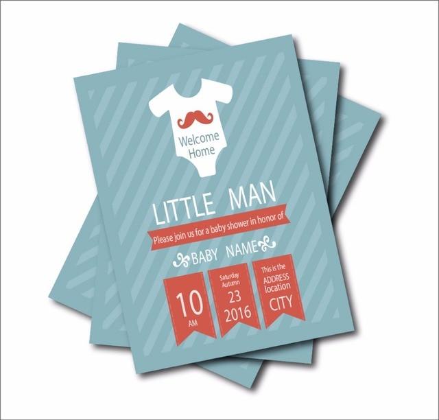 20 pcslot Custom Little Man Baby shower Invitations Birthday Party