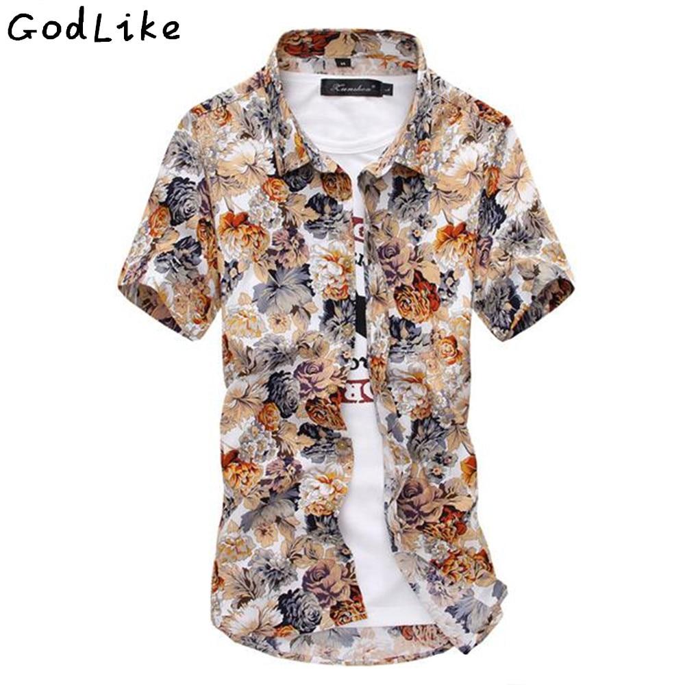 Hot Sale Flower Pattern Shirt Men Silk Cotton Camisa Fashion 2017
