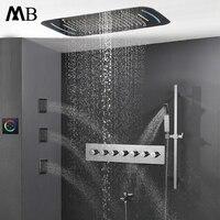 Термостатический смеситель с лампой сенсорный экран Управление светодиодный свет Rianfall насадки для душа водопад ванная комната набор 71X43 см