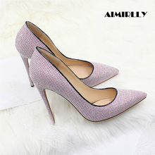 2019 Women Shoes Pointed Toe High Heels Pumps Glitter Stilettos Spring Summer Party Wedding Shoes Sexy Thin Heels Slip-On blue with gold wedding pumps peep toe high heels slip on stilettos party shoes 2016 new women pumps sweet bridal pump shoes