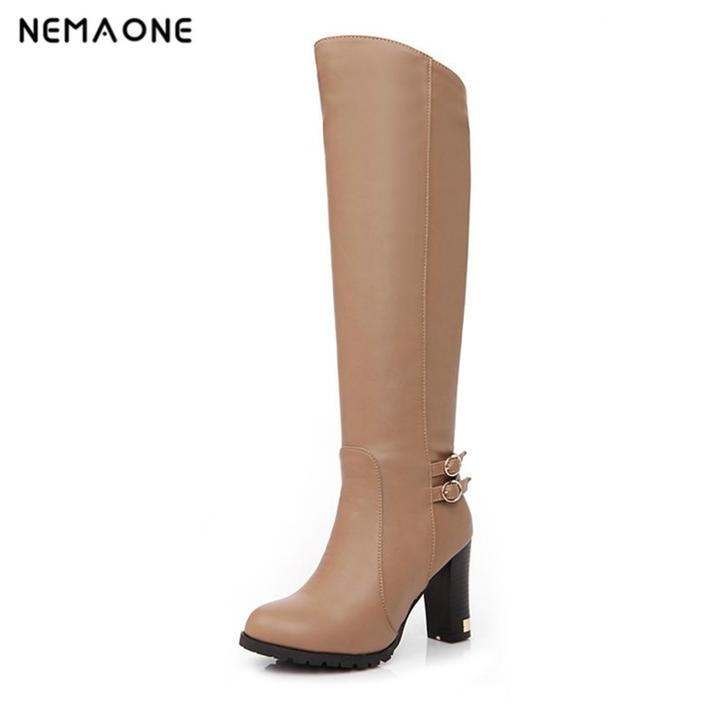 NEMAONE Winter Warm Faux Fur Women Knee High Boots Soft pu Leather Fashion Side Zippers New Female Thick Heel Boots Shoes