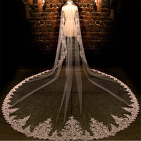 White Ivory 3.5M LengthThree Meters Width 3.5m*3m Embroidered Beaded Lace Wedding Veil Long Bridal Veil