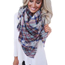 Brand Fashion Winter font b Tartan b font Female Scarf Checkered Wool Blend Shawls Scarves Hot