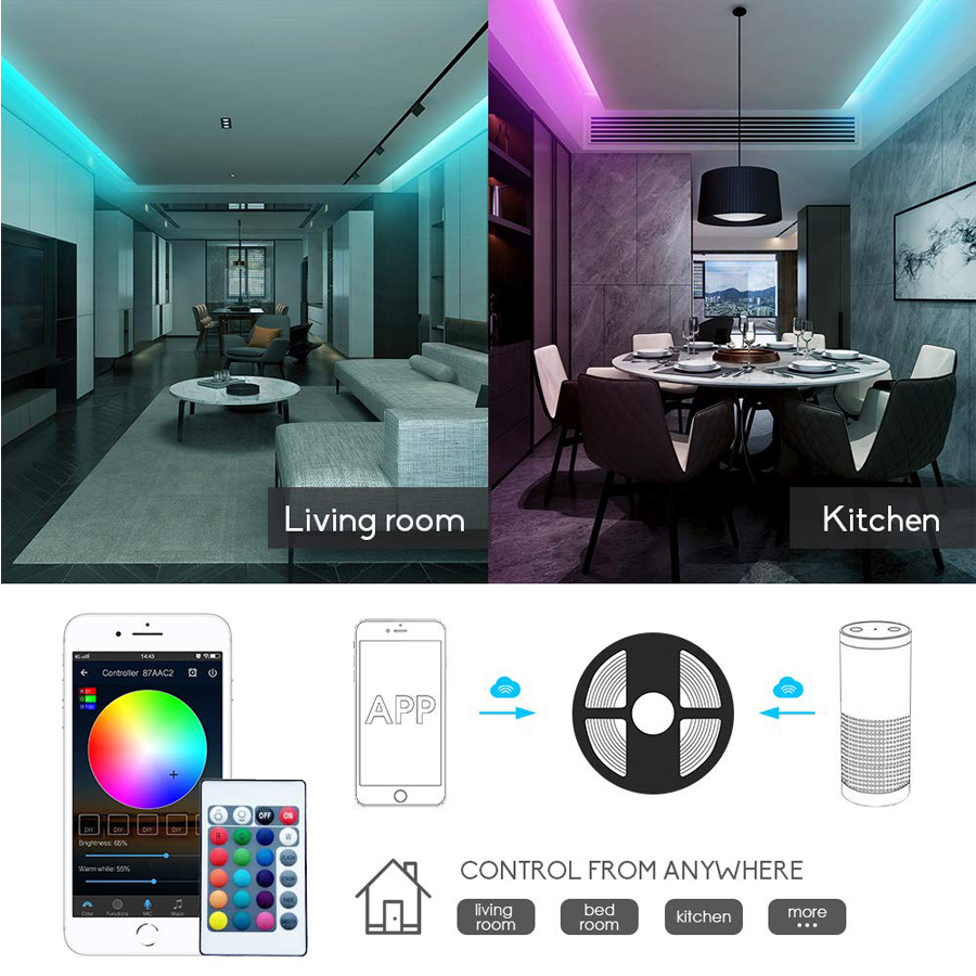 HTB1Q7NFX8Kw3KVjSZTEq6AuRpXaa WIFI LED Strip light 10M 5M SMD RGB 2835 5050 diode led tape ribbon Waterproof led tape and remote controller with adapter set