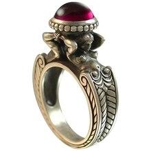 Dos sirenas de Piedra Roja zirconia anillos Euramerican Creative Vintage Retro anillos para mujeres joyería de fiesta de banquete