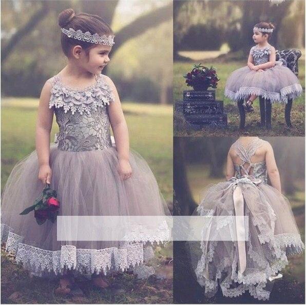 Chic a-ligne Tulle fleur fille robes dentelle arcs enfants robes de reconstitution historique personnaliser