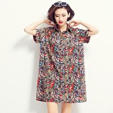 women dress European Style 2016 Women Long Blouse summer Plaid Print dress Single Breasted Shirt Wild Casual Streetwear dresses