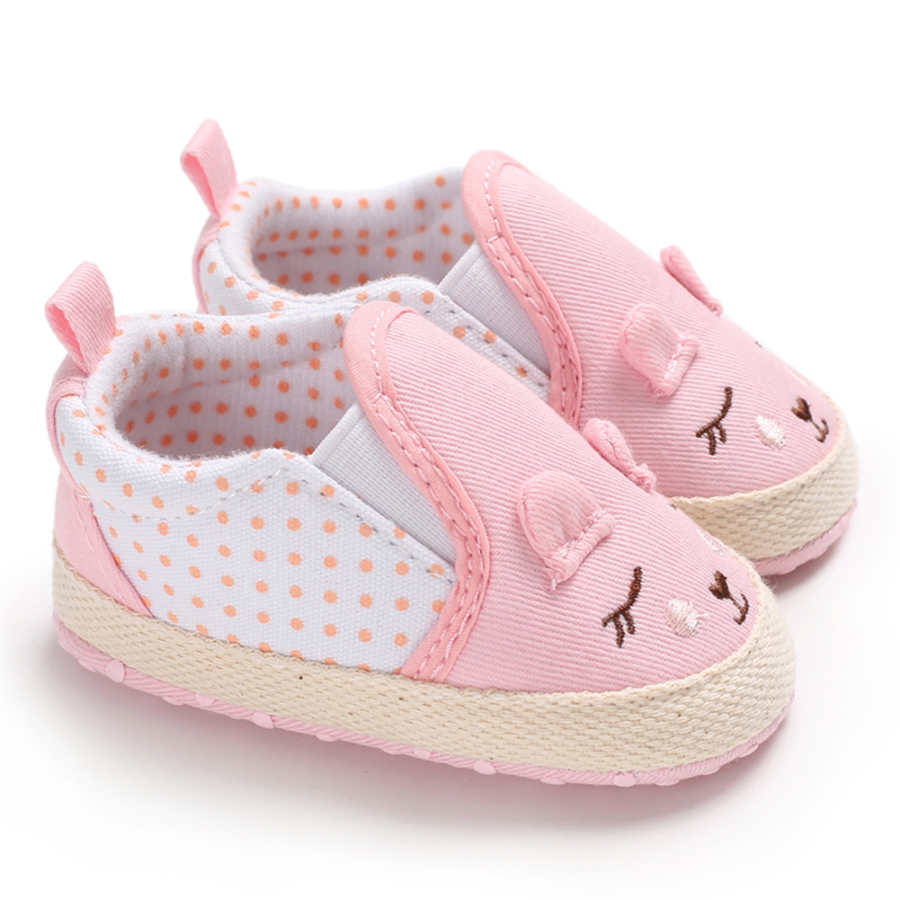Newborn Elastic Shoes Infant Newborn Baby Girls Polka Dots Heart Cartoon Spring Autumn Elastic First Walkers Sneakers Toddler Classic Casual Shoes