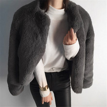 New Women Faux Rex Rabbit Fur Short fur Female Fake Fur Lady Winter Coat Plus Size Faux Fur Slim Casual Party Jacket Coats WZ080