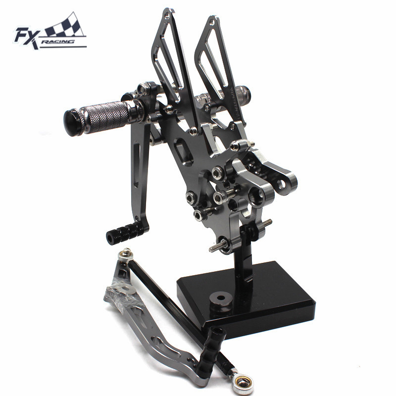 CNC Adjustable Motorcycle Foot Pegs Rest Footpegs Pedals Rearset Footrest Rear Set For Yamaha YZF R6 YZFR6 2006-2016 2015 2014