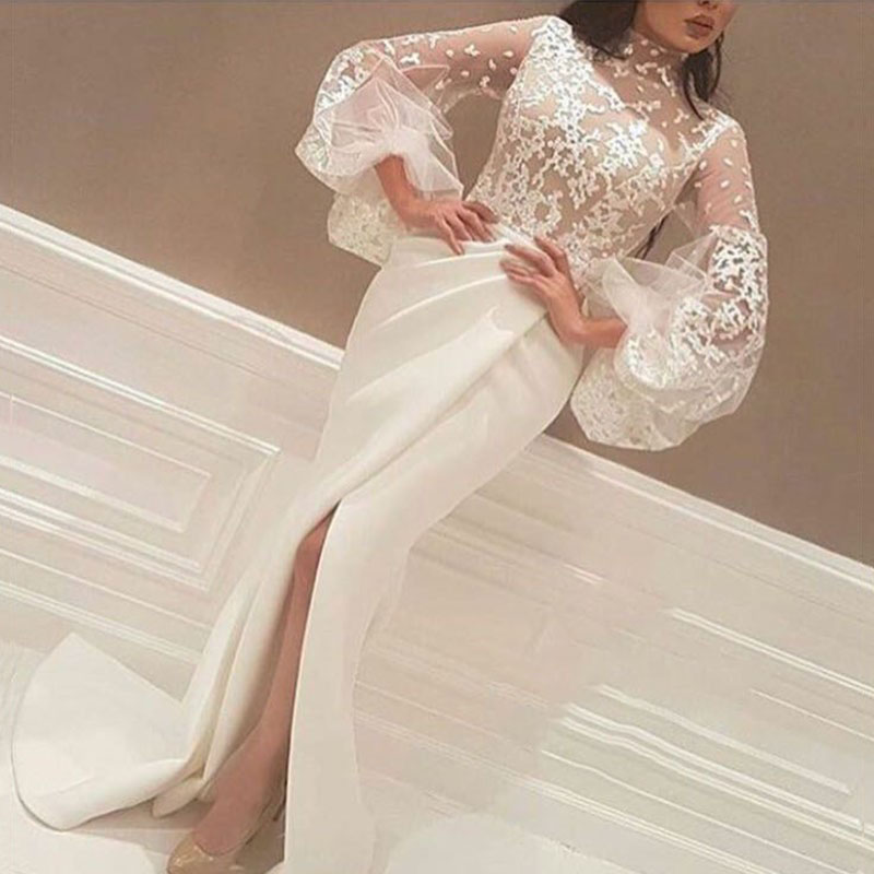White Muslim   Evening     Dresses   2019 Mermaid High Collar Long Sleeves Lace Slit Islamic Dubai Saudi Arabic Long   Evening   Gown Prom