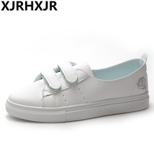XJRHXJR Size 35-39 Women Shoes 2019 New Fashion Casual Flat Pu Leather Hook&Loop Women Casual Summer White Shoes Sneakers Flats цена и фото