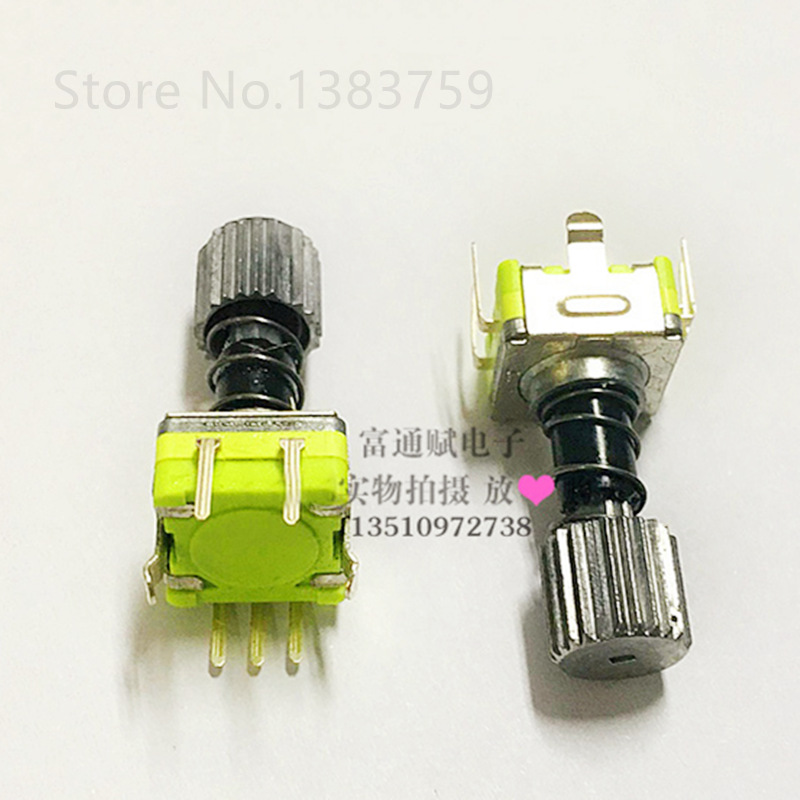 With Spring Rotary Encoder With Self-locking Button Switch EC11-30 Bit 15 Pulse Potentiometer 12MM Handle