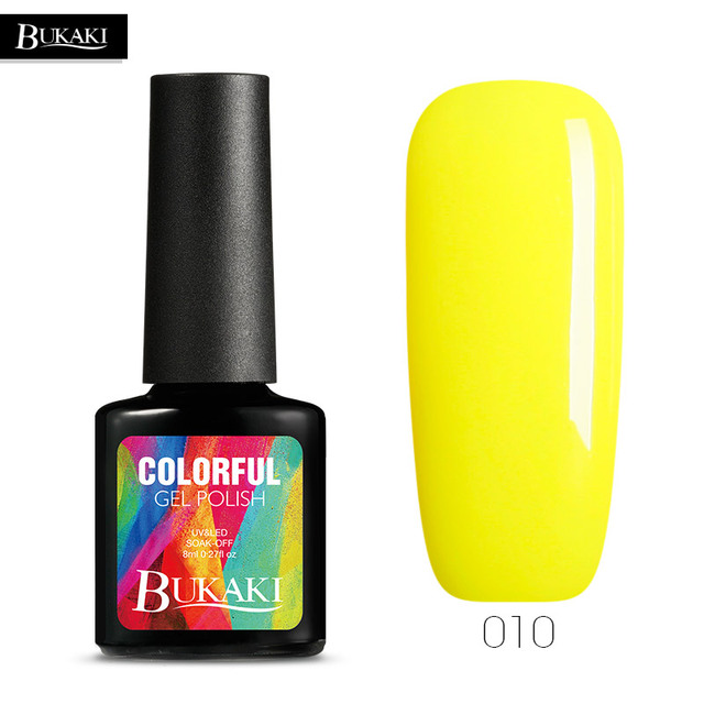 BUKAKI 1pcs Beauty Mood Yellow Color Nail Polish UV Gel Lacuer Design Long