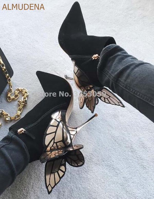 ALMUDENA Top Quality Gorgeous Gold Metallic 3D Butterfly Embellished Ankle Boots Black Suede Pointed Toe Gold Heels Dress Pumps hot selling women charming flock back gold metallic 3d butterfly embellished short boots pointed toe suede leather ankle booties