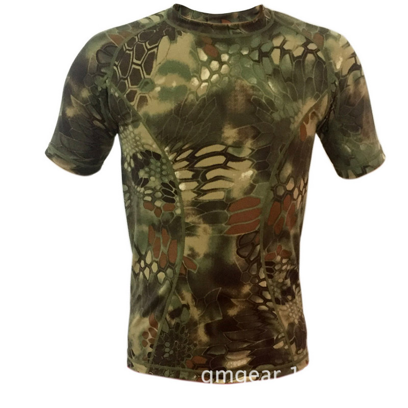 Hot 2017 Outdoor Summer Sport Short Sleeve Cargo Camouflage Army military python Stripes Tight fitness Camping hiking Tshirt Men