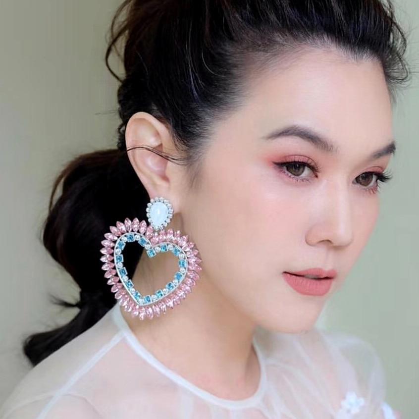 f26f825315 Boutique New Pink Rhinestone Heart Charms Drop Dangle Earrings For Women  Fashion Jewelry Bohemian Statement Earrings Accessories