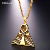 Collare Pyramid Pendant Ankh Egyptian Cross Key of the Nile Gold Color Men Jewelry 316L Stainless Steel Necklace Women P092