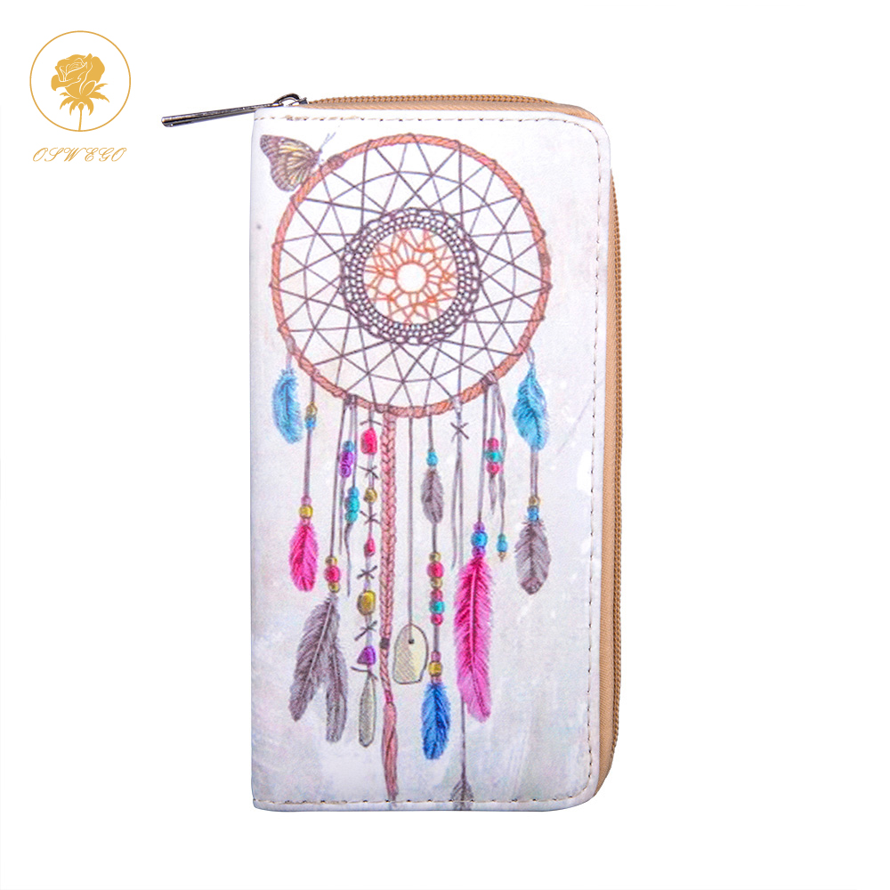 OSWEGO PU Wallet Women Feather Printing Long Clutch Zipper Phone Coin Purse Printing Travel Fashion Wallet Women feather printing pu dream catcher women long wallet female long clutch zipper coin purse phone card holder portefeuille femme