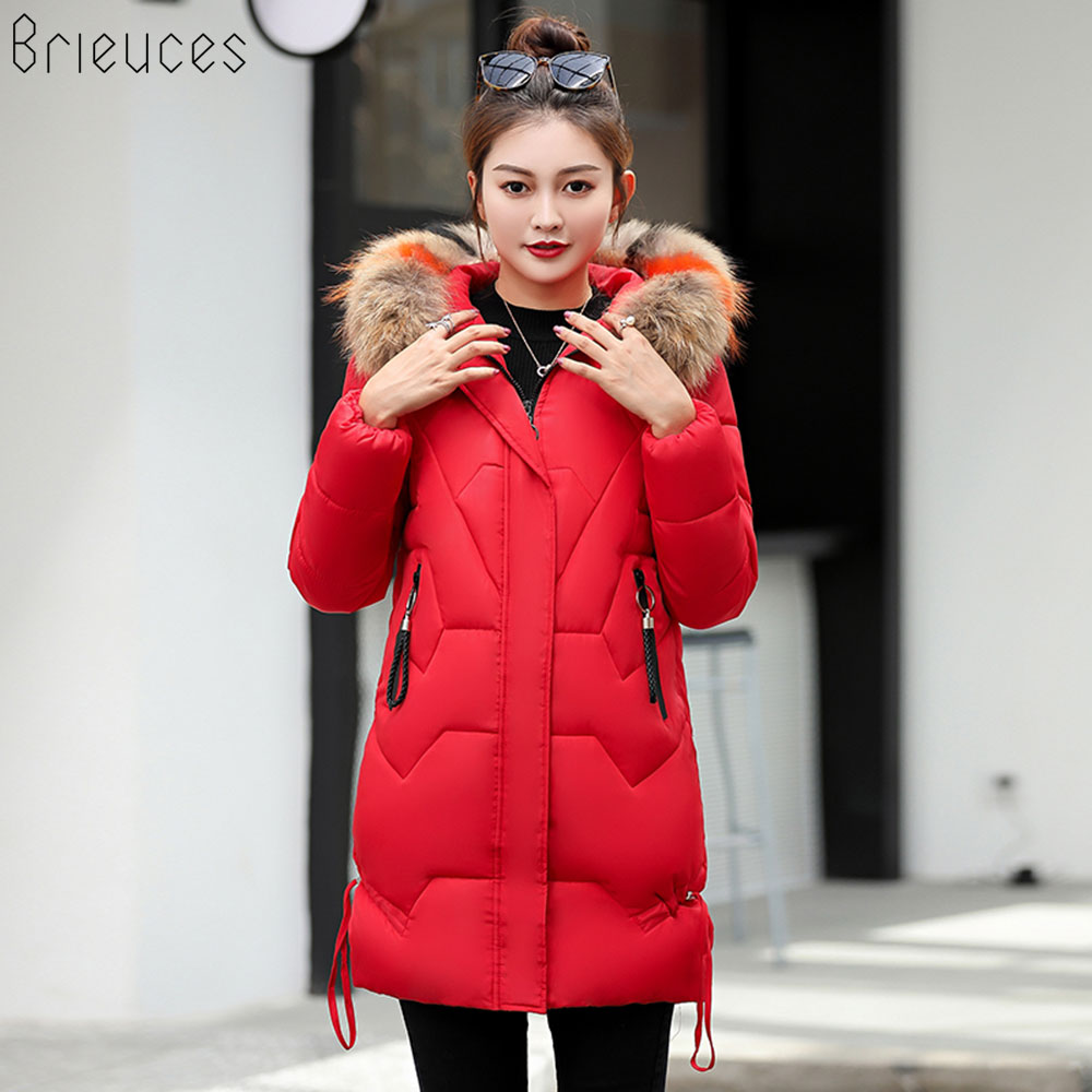 Br women winter jackets and coat 2018 New Parkas for women Long Wadded Jackets warm Outwear Hooded jaqueta Large Faux Fur Collar in Parkas from Women 39 s Clothing