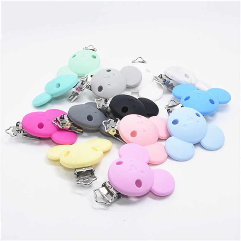 5 PCS Mickey Mouse ซิลิโคน Teethers Baby Pacifier คลิปเด็ก Teething ของเล่น Chewable ซิลิโคนลูกปัดผู้ถือ