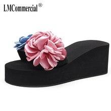 big size high-heeled female summer flowers thick-soled anti-skid slippers holiday sandals womens slippers flip flops women цена в Москве и Питере