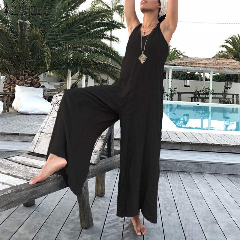 ZANZEA Summer V Neck Straps Rompers Fashion Women   Jumpsuits   Wide Leg Pants Beach Overalls Casual Loose Playsuit Solid Streetwear