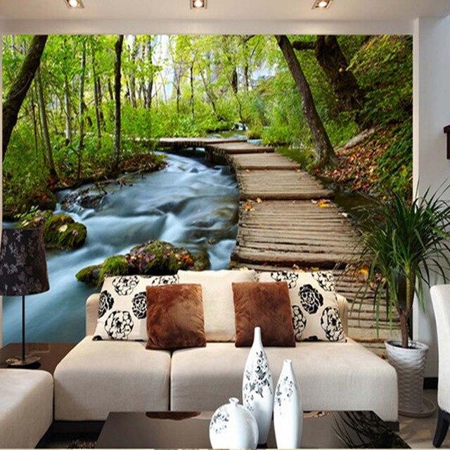 Moderne Wand Mural Fototapete Auf Der Wand Dekor Für Wohnzimmer Kunden Größe  Grünen Wald Landschaft Wallpaper