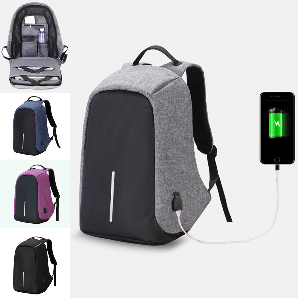 Fashion Travel Unisex Laptop Bags Anti-theft Notebook Backpack With USB Charger Port Student School Bag BS88 14 15 15 6 inch flax linen laptop notebook backpack bags case school backpack for travel shopping climbing men women