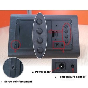 Image 5 - מעורר דיגיטלי שעון שולחני עץ LED שעונים זוהר בחושך שליטת קול אלקטרוני תצוגת מדחום בית תפאורה מתנה
