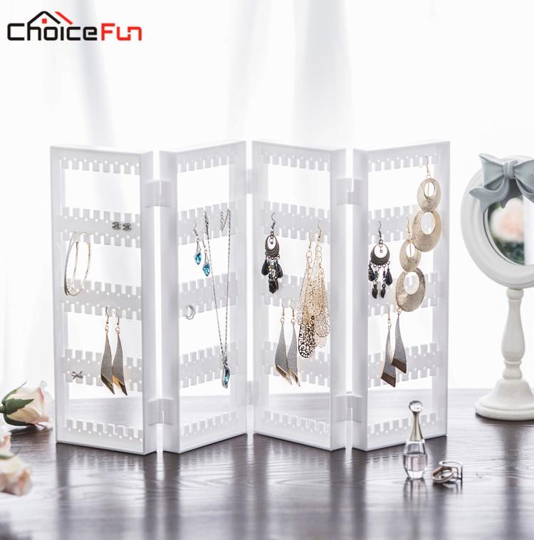 CHOICEFUN 4 ajtó 128 pár összecsukható tiszta akril ékszerek Ékszer Szervező Szervező Műanyag fülbevaló díszítéshez